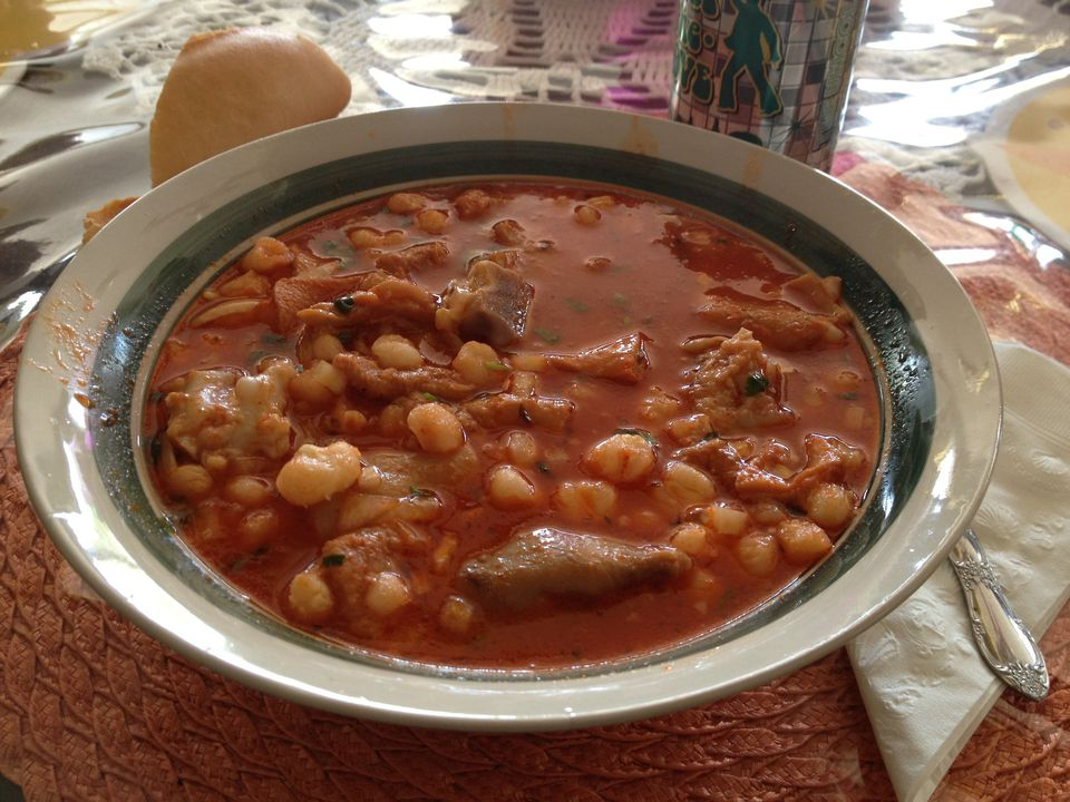 Menudo, a typical Mexican soup made with tripe, hominy, and chile. The version with hominy is typical of northern Mexico and the Southwestern U.S.