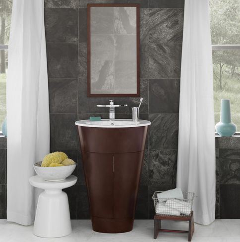 small sink with vanity. Ronbow Leonie cherry wood vanity from Wayfair com 9 Scaled Down Vanities for Small Baths