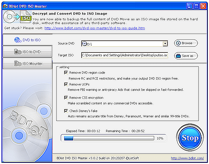 Screenshot of the BDlot DVD ISO Master DVD Ripper Software