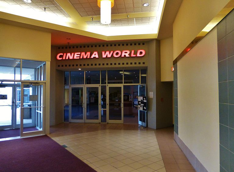 The entrance of a Cinema World movie theater