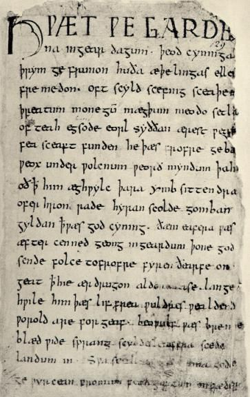 First Page of the Beowulf Manuscript