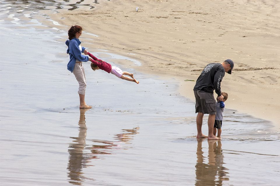 Couple Playing With the Kids at Monterey State Beach