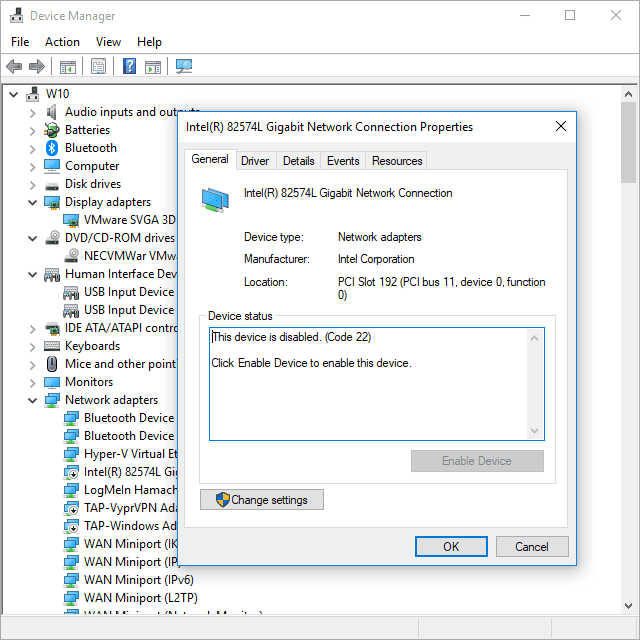 Screenshot of a Code 22 error in Device Manager in Windows 10