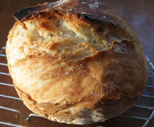 End Product - Baked Loaf of Jim Lahey's Recipe For No Knead Bread