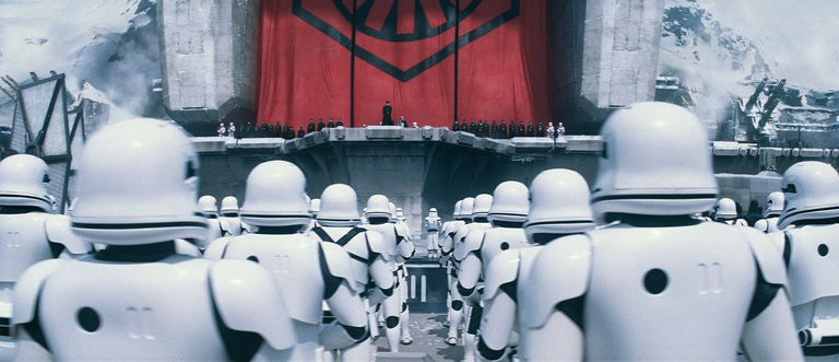 The Stormtroopers of the First Order in formation