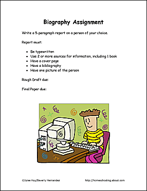 Printable Biography Assignment Page