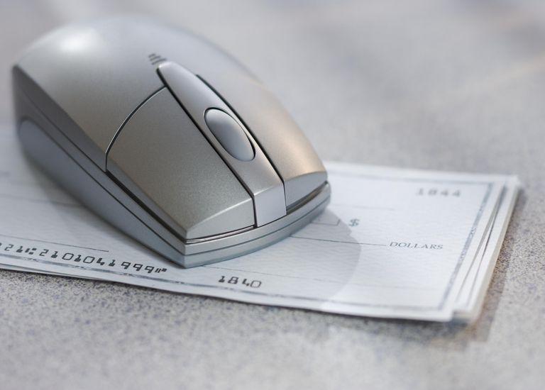 Computer mouse on checks