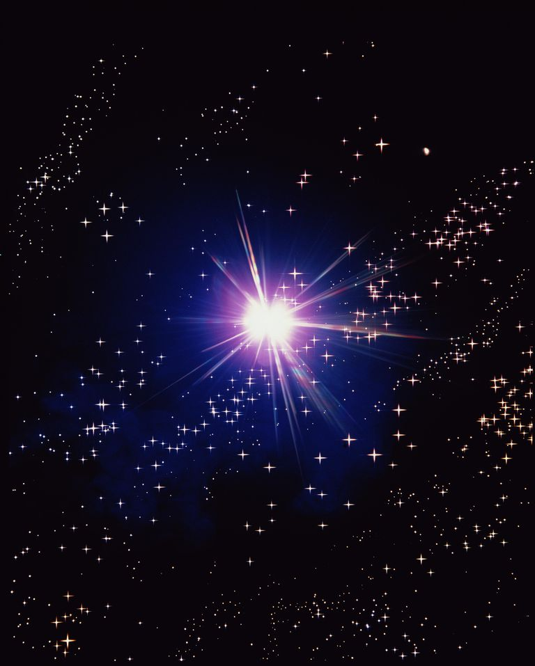 Bright star surrounded by clusters of smaller stars