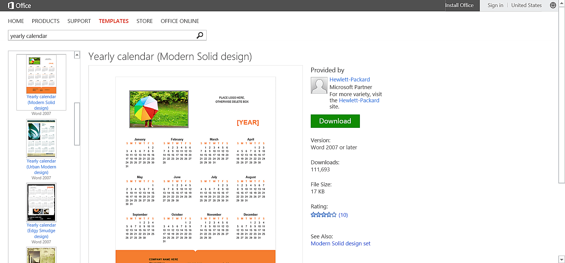 ms office calendar template
