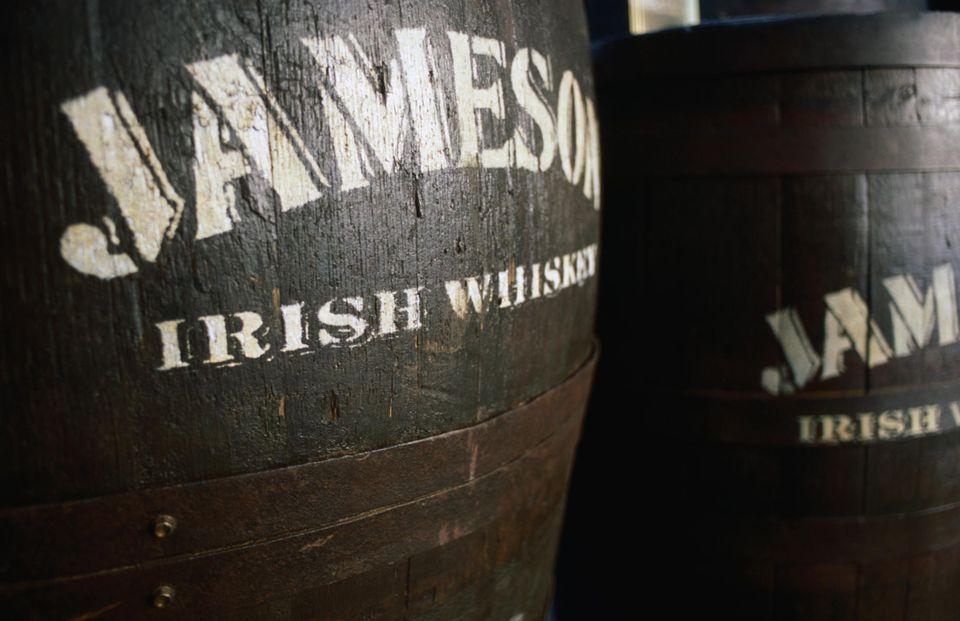 Barrels of the iconic Jameson Irish Whiskey.