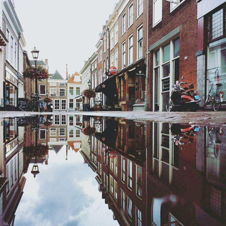 A water-logged street in Delft, Holland.