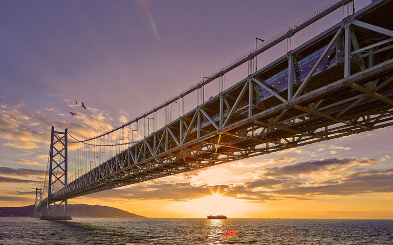View Of Akashi Strait Bridge Over Sea Against Cloudy Sky At Sunset