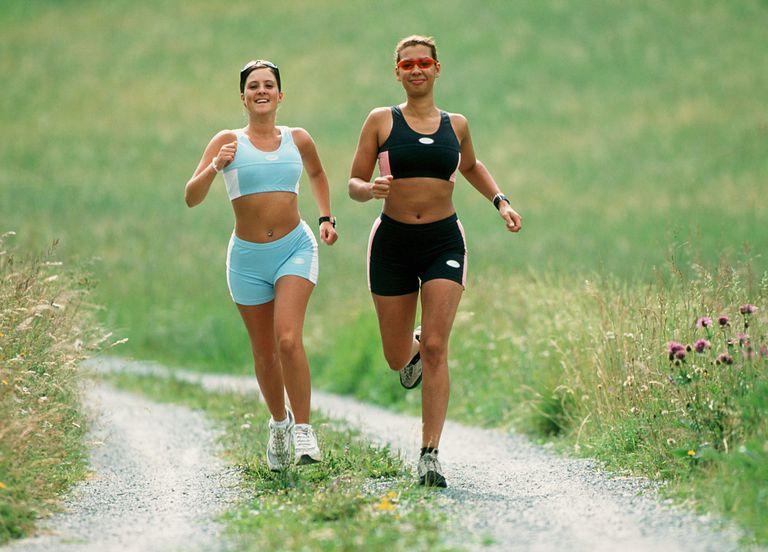 Two women running.