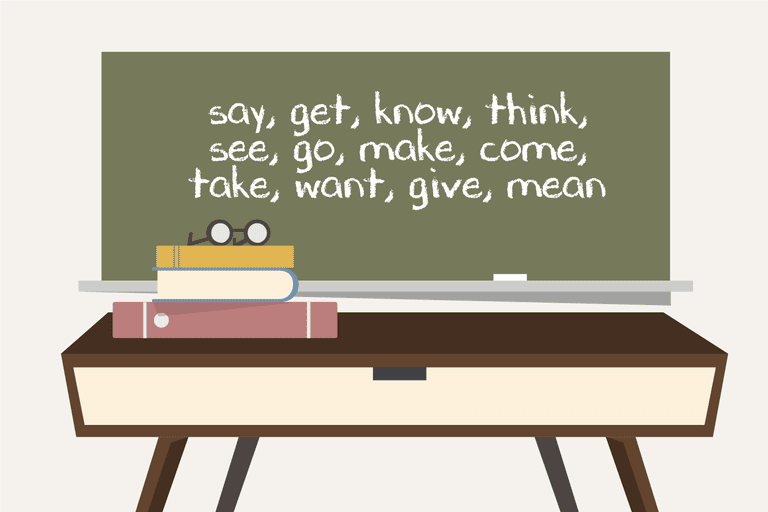 List of most common lexical verbs: say, get, know, think, see, go, make, come, take, want, give, mean