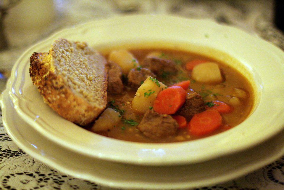 A bowl of carne guisada stew