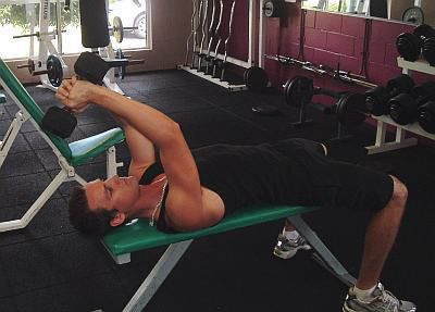 Overhead triceps exercise - starting position