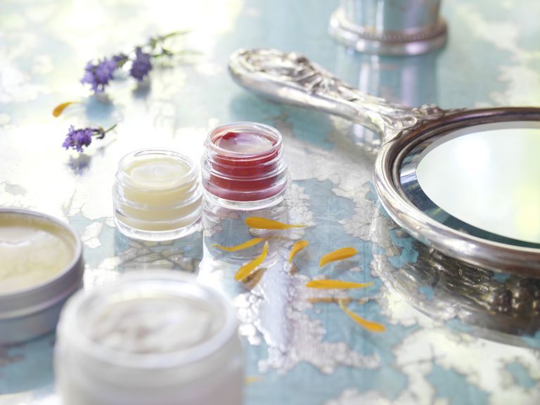 Beauty product still life on table