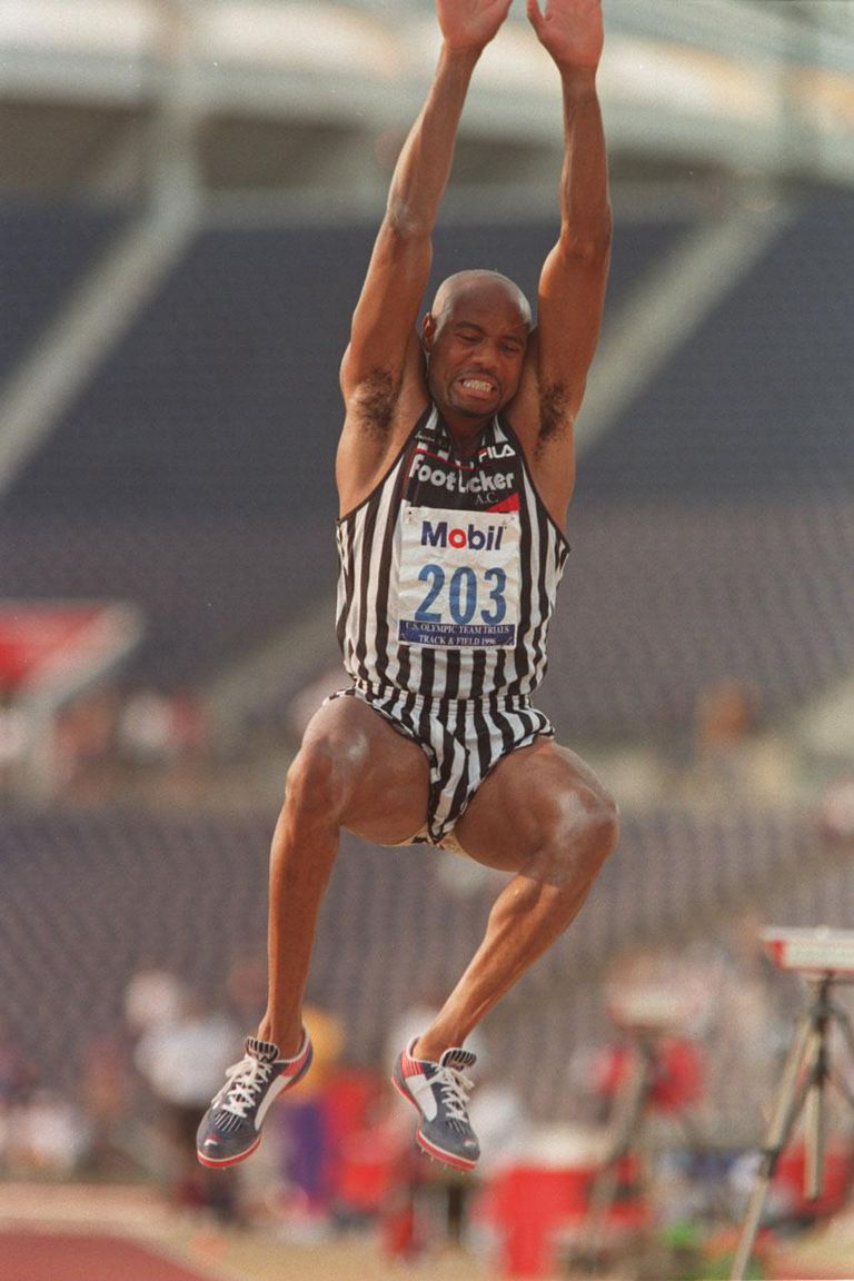 234806 Subscription download 19 Jun 1996 19 Jun 1996: Mike Powell in action during the Long Jump Final at the US Olympic Team Trials held at Olympic Stadium at Atlanta, Georgia.