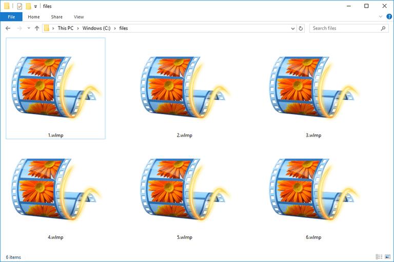 Screenshot of WLMP files in Windows 10
