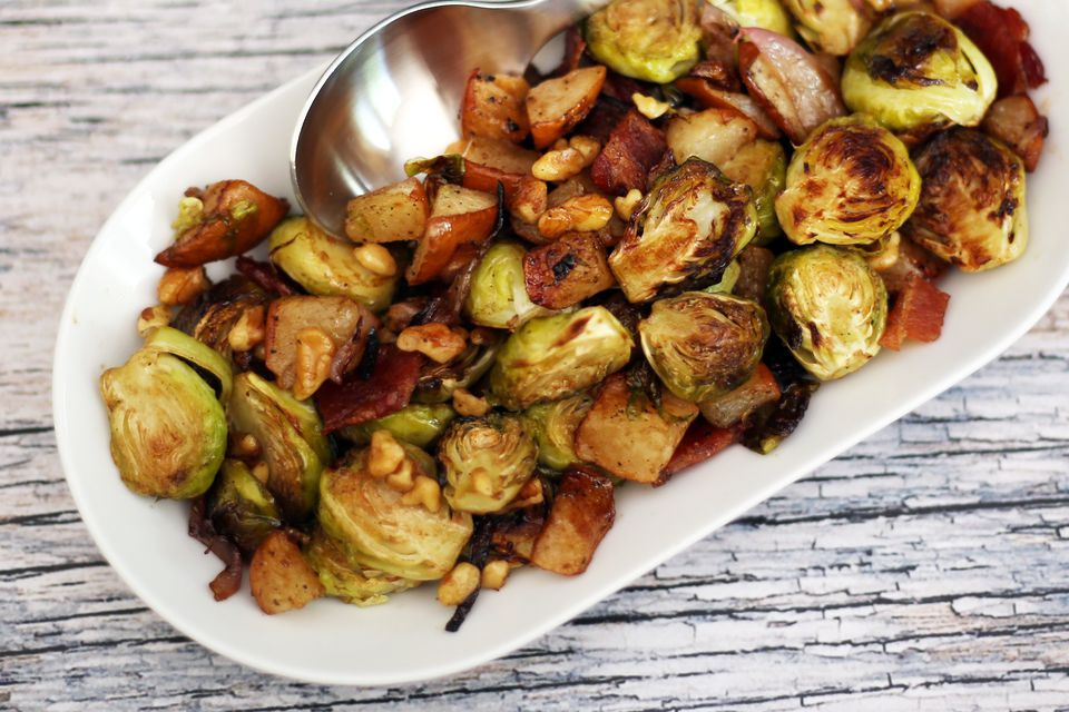 brussels sprouts roasted with pears and bacon