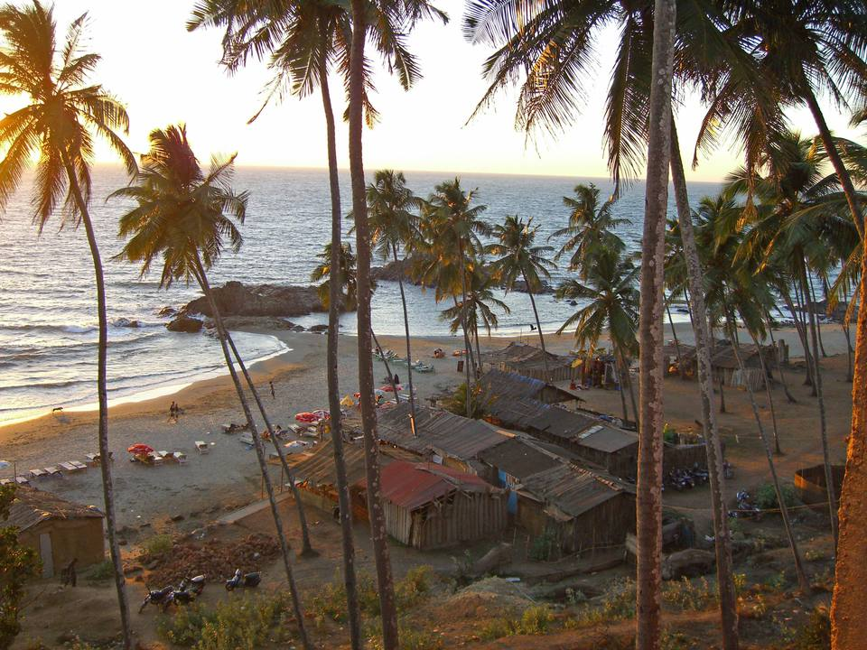 Vagator Beach is popular with backpackers in Goa, India.