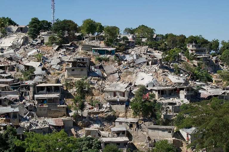 Destruction in Port-au-Prince, Haiti following the 2010 earthquake.