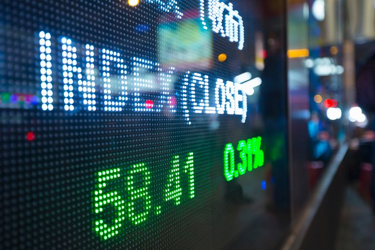 A stock ticker showing a recent index quote