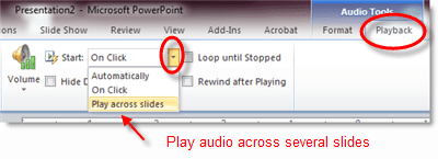Play music across several PowerPoint slides