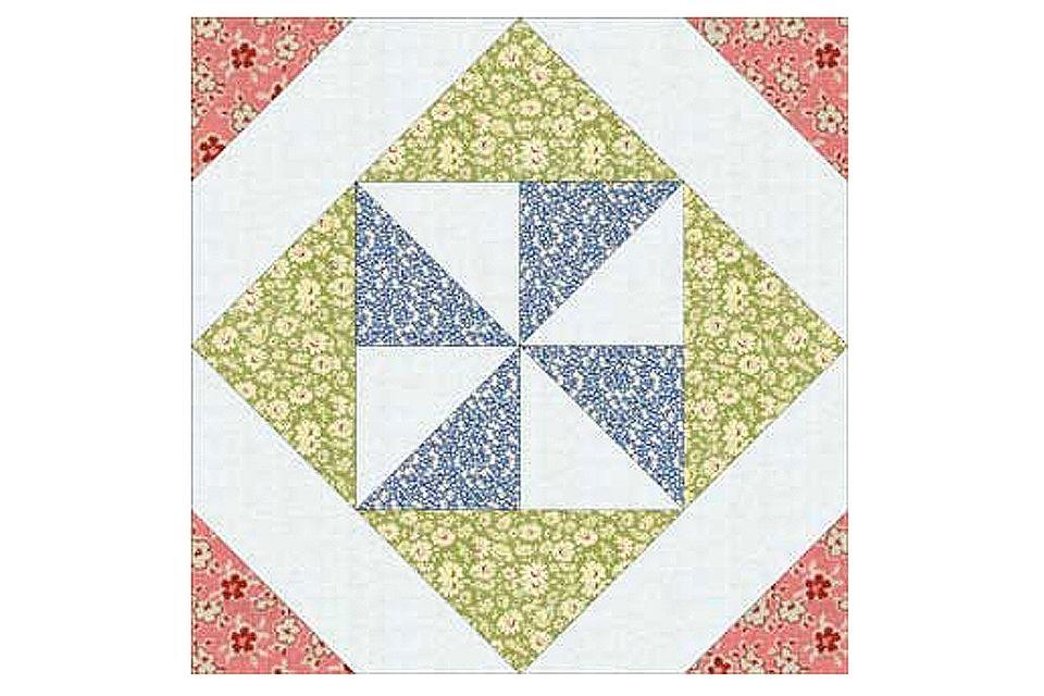 Pinwheel in a Square Quilt Block Pattern