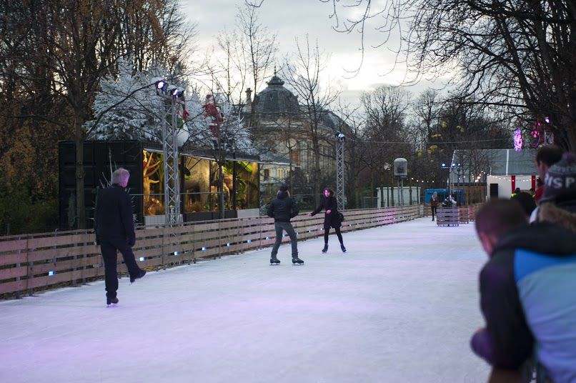 Ice rink on the Champs-Elysees in Paris