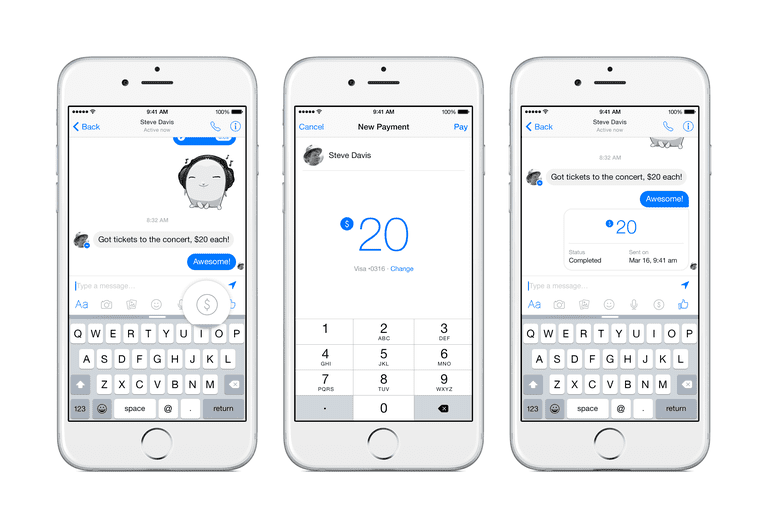 Facebook payments with Messenger