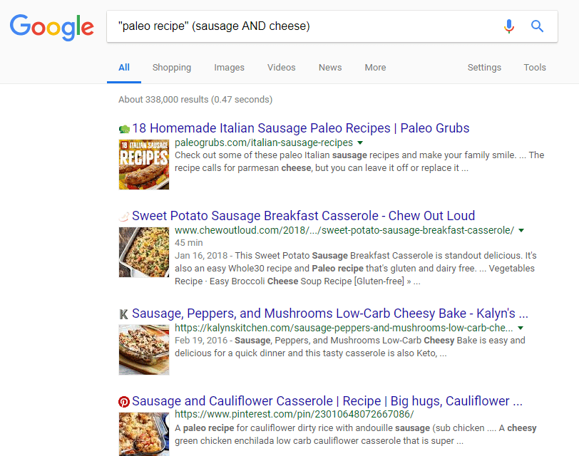 Screenshot showing how to combine Boolean search operators on Google
