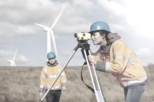 Environmental engineer on a windfarm