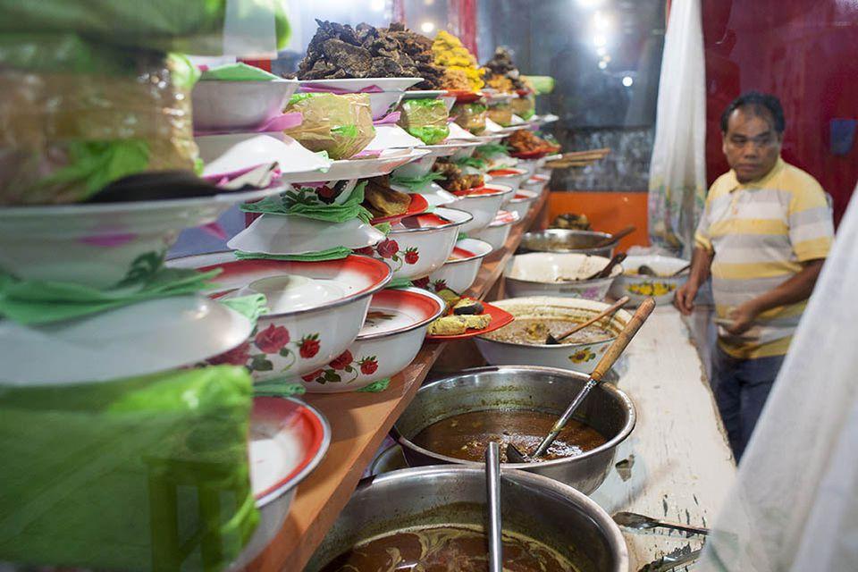 Padang restaurant in Flores Island, Indonesia