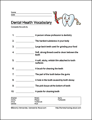 It's just a graphic of Stupendous Dental Activity Sheets