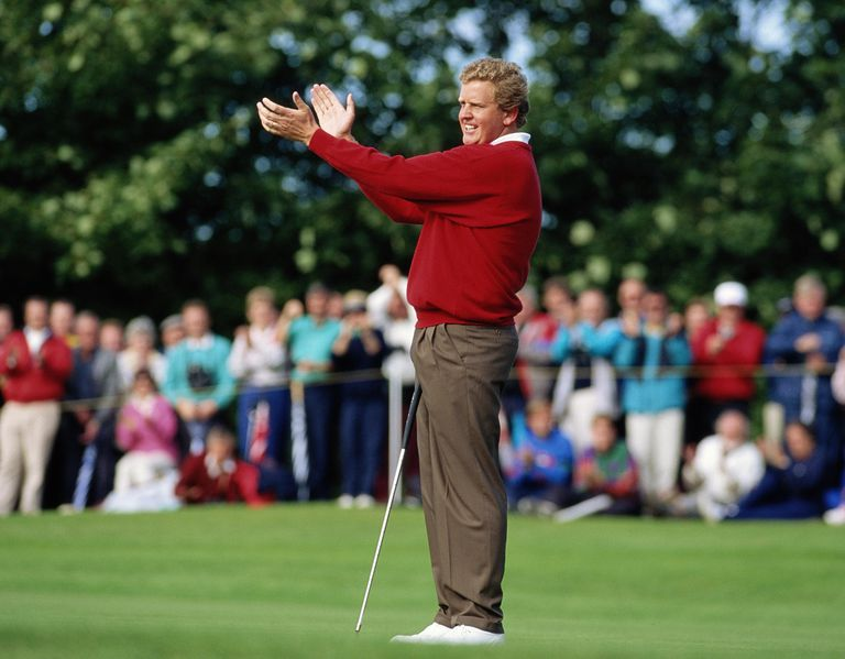 Colin Montgomerie offers applause at the 1993 Ryder Cup