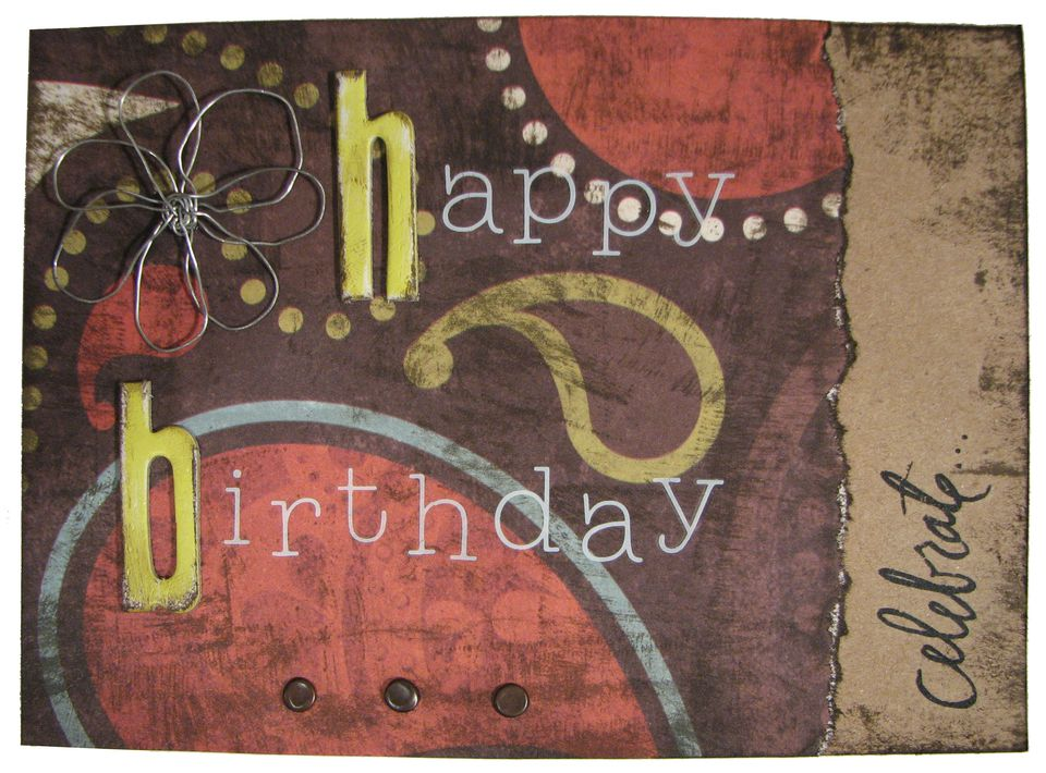handmade birthday card with chipboard letters