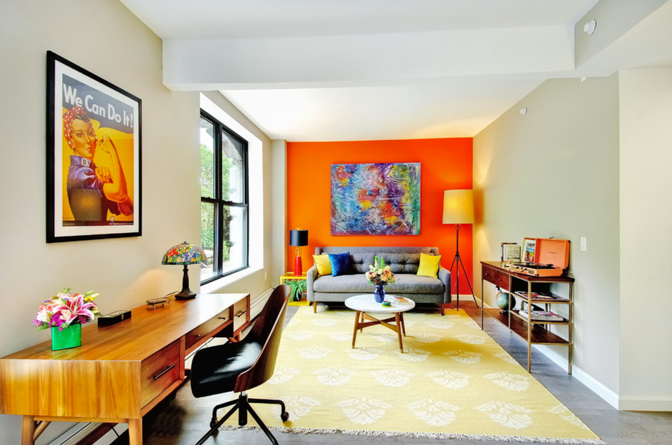 Orange Living Room Accent Wall Bright