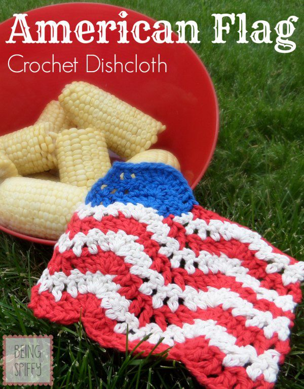 American Flag Crochet Dishcloth Free Pattern