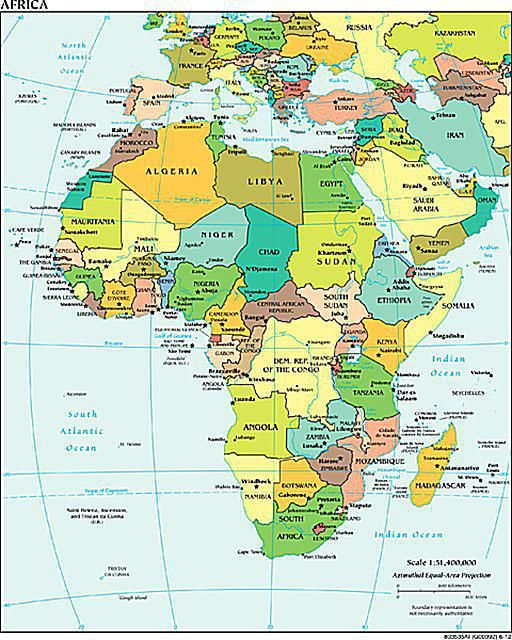 Alphabetical List Of All African Countries - World map with state names