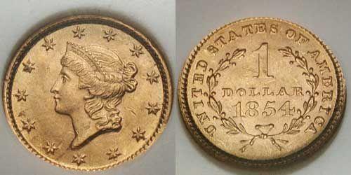1854 (Type I) Liberty Head U.S. Gold Dollar