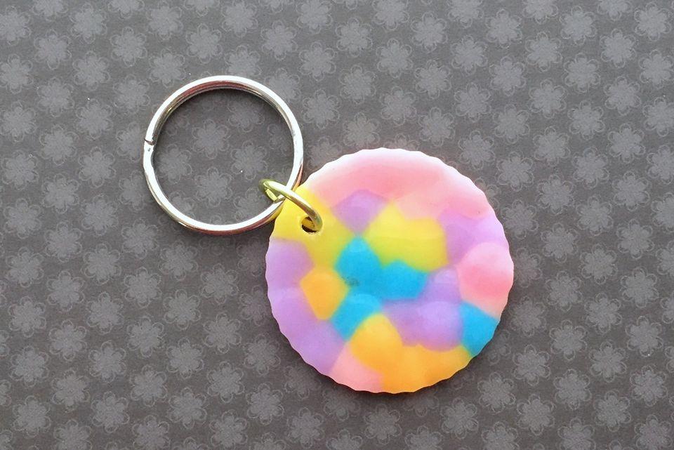 melted pony bead keychain