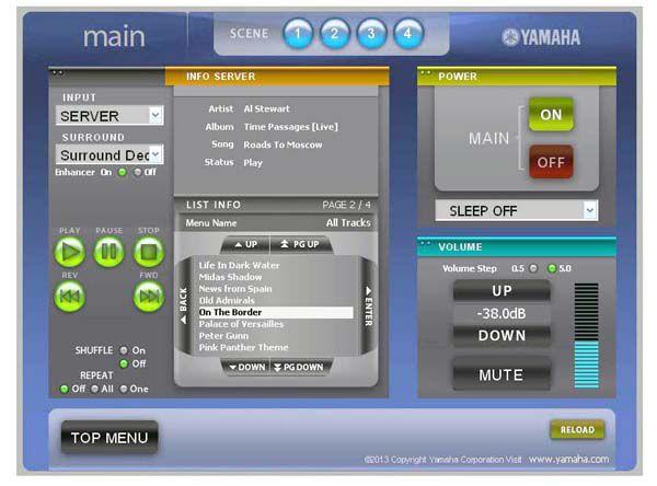 Yamaha R Nnetwork Web Interface