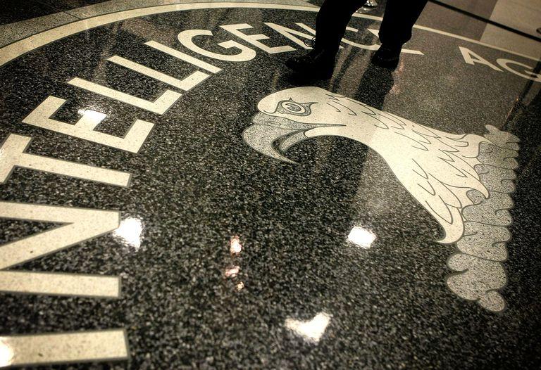 CIA logo on floor of CIA headquarters
