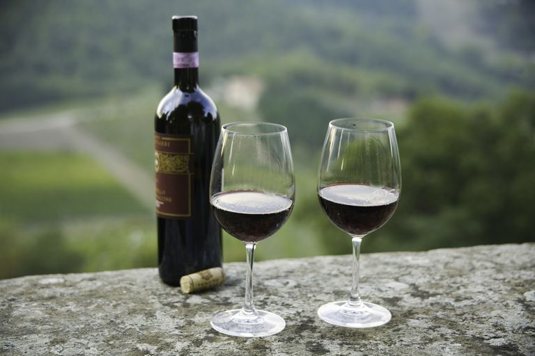 Wine glasses with bottle