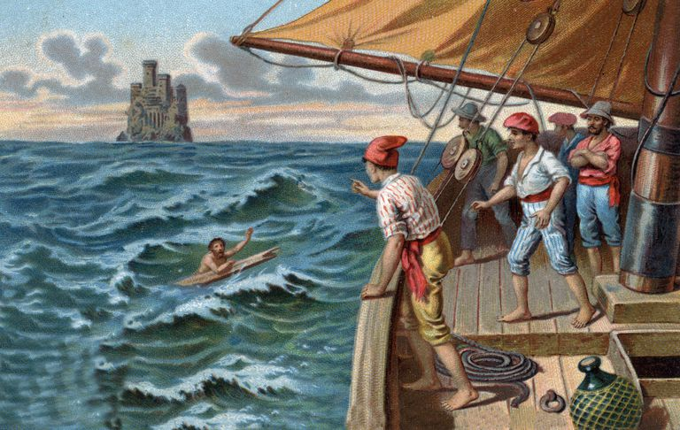 Illustration of Edmond Dantes Left in the Sea by a Ship Crew