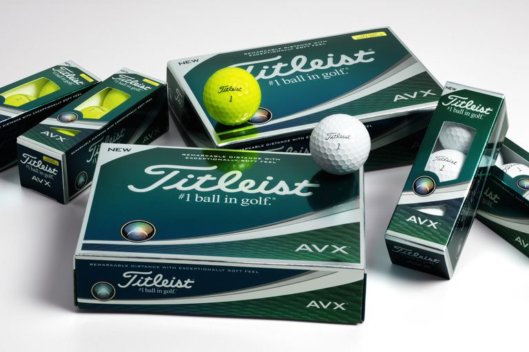 Boxes and sleeves of Titleist AVX golf balls