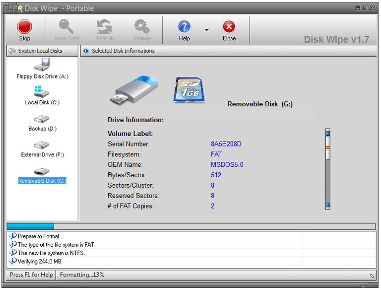 Screenshot of Disk Wipe v1.7