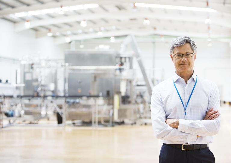 businessman in factory