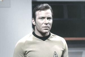 William Shatner as Captain James T. Kirk of the Starship Enterprise